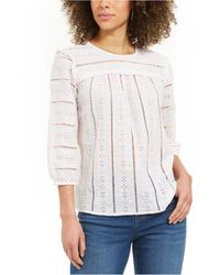 Style & Co. Striped Eyelet 3/4-sleeve Top, Created For Macy's - Multicolor