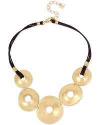 """Robert Lee Morris - Gold-tone Disc & Leather Statement Necklace, 18"""" + 3"""" Extender - Lyst"""