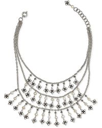 """Patricia Nash Floret & Freshwater Pearl (5mm) Multi-row Statement Necklace, 18"""" + 2"""" Extender - Metallic"""