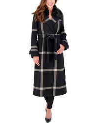 Vince Camuto Petite Faux-fur-collar Plaid Maxi Coat, Created For Macy's - Black