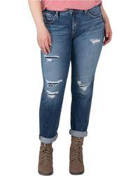Silver Jeans Co. Plus Size Beau Ripped Girlfriend Jeans - Blue
