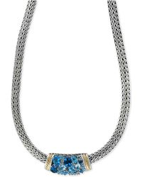 Effy Collection - Blue Topaz Necklace (6-3/4 Ct. T.w.) In Sterling Silver And 18k Gold - Lyst