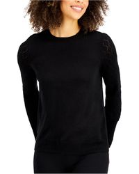 Style & Co. Mixed-stitch Pointelle Sweater, Created For Macy's - Black
