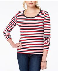 0ace09a339f9c2 Lyst - Tommy Hilfiger Long-Sleeve Striped Crew-Neck Tee in Blue