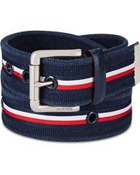Tommy Hilfiger Striped Casual Belt - Blue