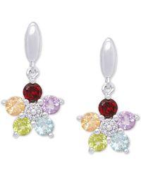 Macy's Multi-gemstone Flower Drop Earrings (1-1/3 Ct. T.w.) In Sterling Silver - Multicolour