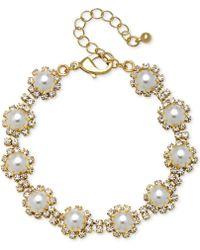 Badgley Mischka - Gold-tone Crystal & Imitation Pearl Link Bracelet - Lyst