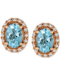 Le Vian - Sea Blue Aquamarine® (1-1/6 Ct. T.w.) And Diamond (1/4 Ct. T.w.) Stud Earrings In 14k Rose Gold - Lyst
