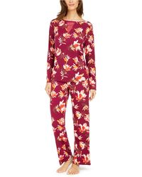 Sesoire Floral-print Woven Pajama Set - Red