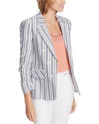 1.STATE Stripe Ruched Sleeve Blazer - Multicolour