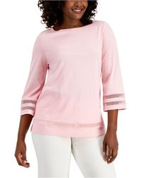 Karen Scott Crochet-trim Top, Created For Macy's - Pink