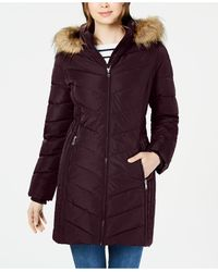 Tommy Hilfiger Petite Faux-fur Trim Hooded Water-resistant Puffer Coat, Created For Macy's - Purple