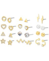 Steve Madden Gold-tone 12-pc. Set Crystal & Imitation Pearl Assorted Earrings - Metallic