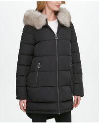 DKNY Faux-fur-trim Hooded Puffer Coat - Black