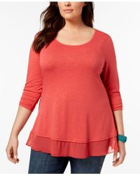 Style & Co. - Plus Size Chiffon-hem Top, Only At Macy's - Lyst