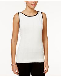 Charter Club Contrast-trim Sweater Shell - White