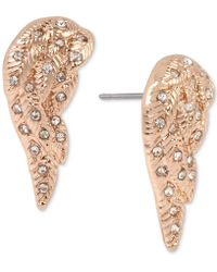 Betsey Johnson - Rose Gold-tone Pavé Angel Wing Stud Earrings - Lyst