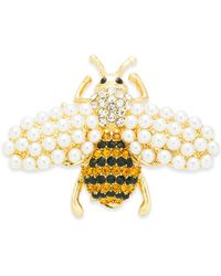 Charter Club Gold-tone Pavé & Imitation Pearl Bee Pin, Created For Macy's - Metallic