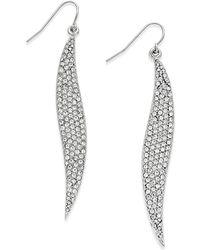 ABS By Allen Schwartz - Silver-tone Crystal Pavé Wavy Drop Earrings - Lyst