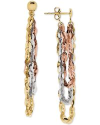 Macy's - Tricolor Flat Link Front & Back Drop Earrings In 10k Gold, White Gold & Rose Gold - Lyst
