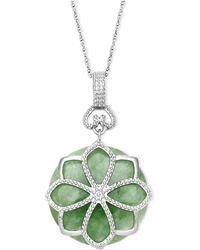 Macy's - Sterling Silver Necklace, Jade Flower Pendant (21 Ct. T.w.) - Lyst
