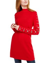 INC International Concepts Inc Grommet-detail Tunic Sweater, Created For Macy's - Red