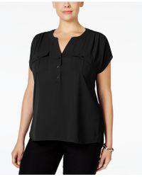 INC International Concepts Plus Size Short-sleeve Blouse - Black