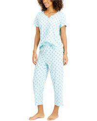 Charter Club Capri Cotton Pyjama Set, Created For Macy's - Blue