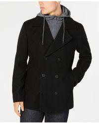 American Rag - Regular Fit Fleece Peacoat With Hooded Sweatshirt Bib, Created For Macy's - Lyst
