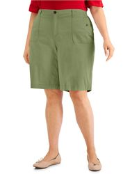 Karen Scott Plus Size Top-stitched Shorts, Created For Macy's - Green