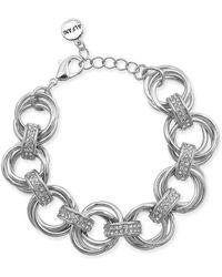 Alfani Silver-tone Crystal Accent Multi-hoop Link Bracelet, Created For Macy's - Metallic