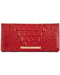 Brahmin Ady Melbourne Croc Embossed Leather Wallet - Red