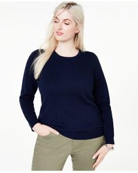 Charter Club Plus Size Crewneck Cashmere Sweater, Created For Macy's - Blue