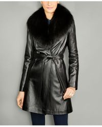 f935392bd57 The Fur Vault - Fox-fur-collar Belted Leather Coat - Lyst