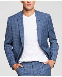 Armani Exchange Slim-fit Plid Suit Jcket - Blue