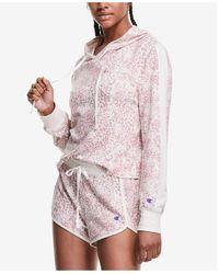 Champion Cropped Hoodie & Shorts Hacci Lounge Pajama Set - Pink