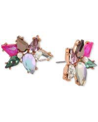Betsey Johnson | Rose Gold-tone Multi-stone Cluster Stud Earrings | Lyst