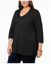 Love Scarlett - Plus Size Lace-up V-neck Top - Lyst