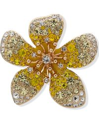 Anne Klein Gold-tone Crystal Flower Pin - Yellow