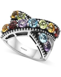 Effy Collection Effy® Multi-gemstone Crisscross Statement Ring (4-1/3 Ct. T.w.) In Sterling Silver - Multicolour