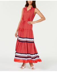 Charter Club Petite Border-print Tiered Maxi Dress, Created For Macy's