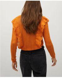 Mango Frilla Open Knit Sweater - Orange