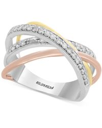 Effy Collection - Diamond Tri-color Overlap Ring (1/4 Ct. T.w.) In 14k Gold, White Gold & Rose Gold - Lyst