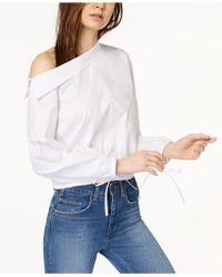 Kensie - Cotton Asymmetrical One-shoulder Blouson Top - Lyst