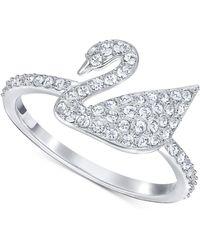 Swarovski - Silver-tone Crystal Swan Logo Ring - Lyst