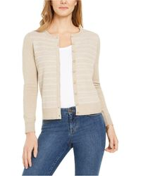 Charter Club Button-down Textured Stitch Cardigan Sweater, Created For Macy's - Natural