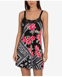 Linea Donatella Marabel Patch Chemise Nightgown - Black