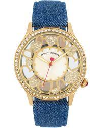 Betsey Johnson - Women's Blue Denim Strap Watch 41mm Bj00331-09 - Lyst