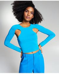 Bar Iii Zerina Akers Cut-out Knit Top, Created For Macy's - Blue