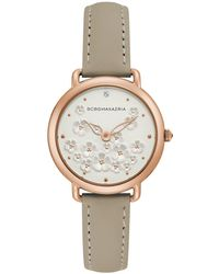 BCBGMAXAZRIA - Ladies Beige Leather Strap With Floral Dial With Rose Gold Case, 34mm - Lyst